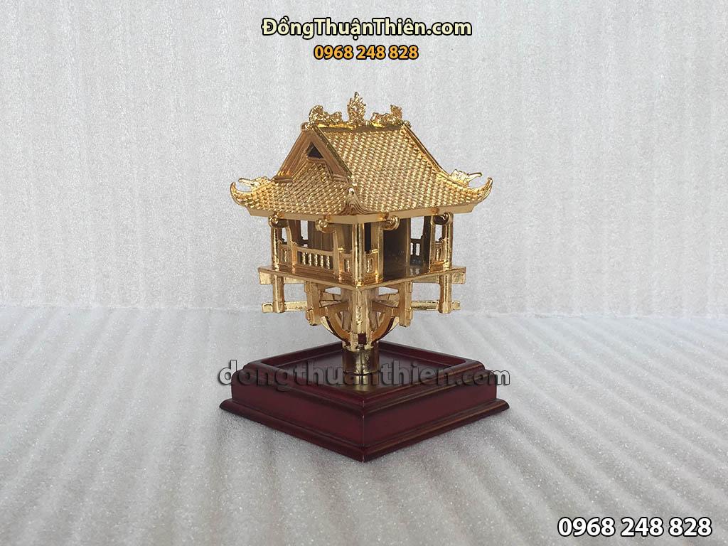 Biểu Tượng Chùa Một Cột Bằng Đồng Mạ Vàng Cao 14cm