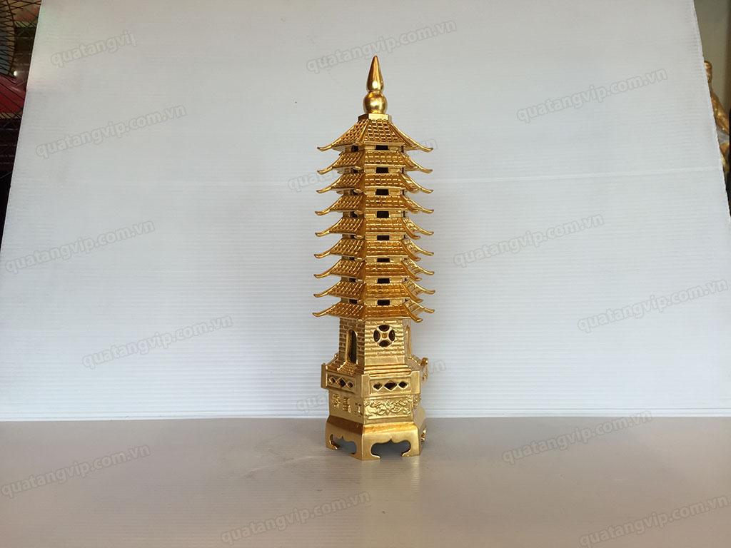 Tháp Văn Xương bằng đồng dát vàng cao 30cm - Q0687