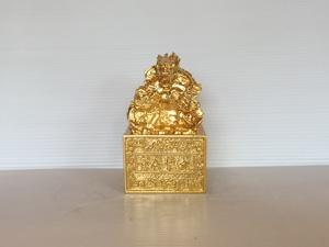 Ấn Rồng Cửu Long bằng đồng 12.5cm dát vàng 9999 - Q0516