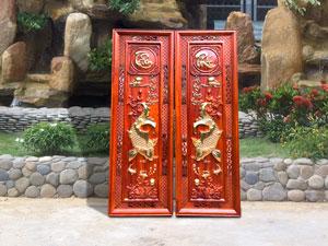 Cặp tranh cá chép Tâm Phúc gỗ hương đỏ