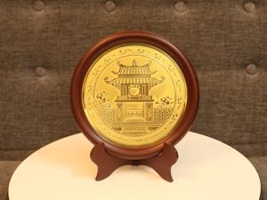 Đĩa đồng ăn mòn Khuê Văn Các 23cm - Q0259