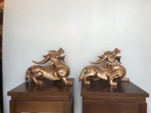 Đôi Tỳ Hưu một sừng đúc bằng đồng đỏ dài 36cm - Q0429
