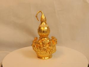 Hồ lô bát tiên bằng đồng dát vàng 18cm - Q0159