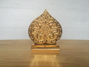 Lá Đề Hoàng Thành cao 14cm mạ vàng 24k - Q0480