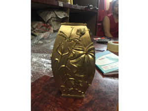Lọ hoa tứ giác bằng đồng 20cm - Q0325