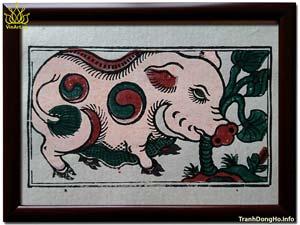 Tranh Đông Hồ Lợn Ăn Cây Ráy