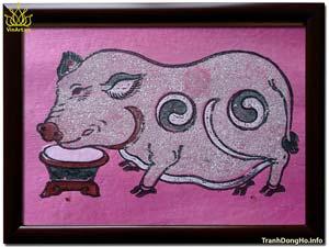 Tranh Đông Hồ Lợn Độc Bên Máng Thức Ăn