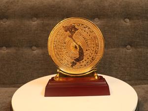 Mặt Trống Đồng bản đồ mạ vàng F15 - Q0246
