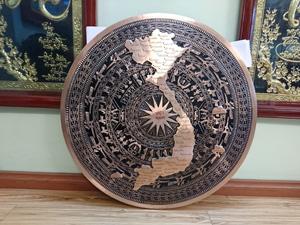 Mặt trống đồng đỏ đúc bản đồ Việt Nam 80cm - Q0304
