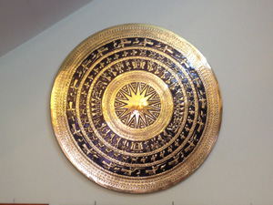Mặt trống đồng vàng gò thủ công đường kính 1m - Q0306
