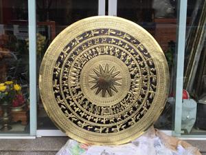 Mặt trống đồng vàng gò thủ công đường kính 1m5 - Q0671