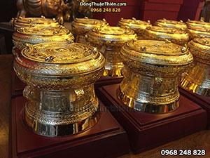 Quà Tặng Trống Đồng Mạ Vàng 24K Đường Kính 12cm
