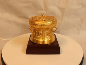 Quả Trống Đồng dát vàng đường kính 11cm - Q0203