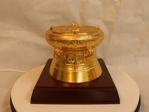 Quả trống đồng dát vàng đường kính 15cm - Q0202