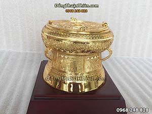 Quả Trống Đồng Mạ Vàng Đường Kính 11cm
