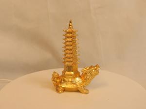 Tượng đồng Rùa Cõng Tháp dát vàng cao 16cm - Q0155
