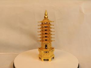 Tháp Văn Xương bằng đồng 7 tầng dát vàng 26cm - Q0152