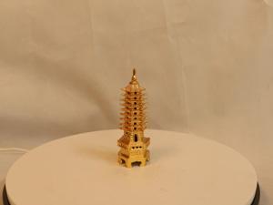 Tháp Văn Xương bằng đồng 9 tầng mạ vàng 14cm - Q0163