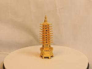 Tháp Văn Xương bằng đồng 9 tầng mạ vàng 18cm - Q0153