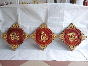 Tranh Chữ Gỗ Hương Phúc Lộc Thọ Dát Vàng 42cm