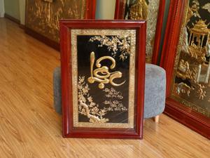 Tranh đồng chữ Lộc thư pháp mạ vàng 55cm x 80cm - Q0678
