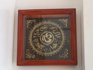 Tranh đồng chữ Tâm tiếng Hán họa tiết tứ linh 80cm - Q0631