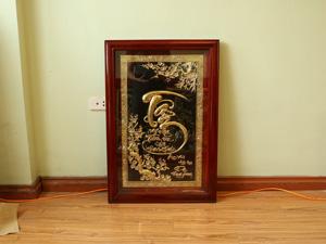Tranh đồng chữ Tâm thư pháp 55cm x 80cm - Q0677