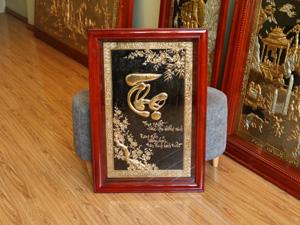Tranh đồng chữ Thọ thư pháp mạ vàng 24k 55cm x 80cm - Q0675