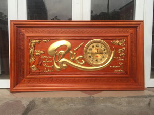 Tranh gỗ đồng hồ chữ Phúc thếp vàng 1m27