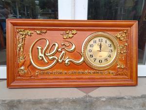 Tranh Gỗ Đồng Hồ Chữ Nhẫn Dát Vàng 81cm