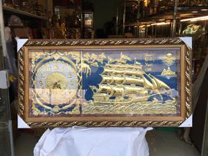 Tranh đồng hồ treo tường thuyền buồm 90cm - Q0410