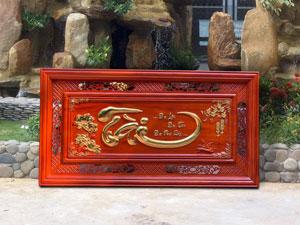 Tranh gỗ chữ Tài dát vàng 1m27