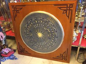 Tranh Trống Đồng đúc đường kính 80cm nền gỗ 1m1 - Q0566
