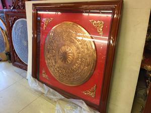 Tranh trống đồng đỏ gò 80cm khung gỗ 1m2 - Q0543