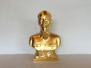 Tượng đồng chân dung Bác Hồ thếp vàng 22cm - Q0684