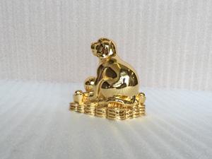 Tượng con Chó mạ vàng 24k cỡ 15cm - Q0383