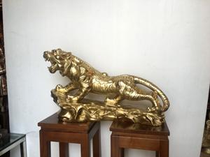 Tượng Con Hổ bằng đồng vàng dài 60cm - Q0455