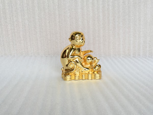 Tượng con Khỉ mạ vàng 15cm - Q0391
