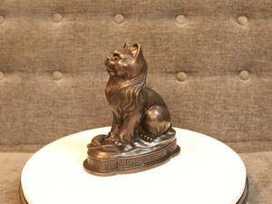 Tượng con Mèo bằng đồng hun 18cm - Q0236