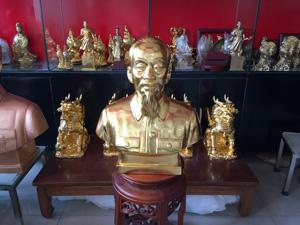 Tượng đồng chân dung Bác Hồ dát vàng cao 50cm - Q0595
