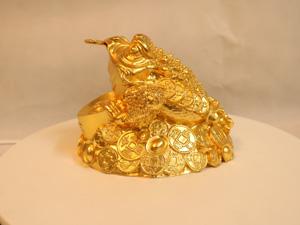 Tượng đồng Cóc ba chân dát vàng 16cm - Q0135
