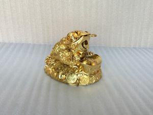 Tượng đồng Cóc Ba Chân mạ vàng 24k cỡ 16cm - Q0366