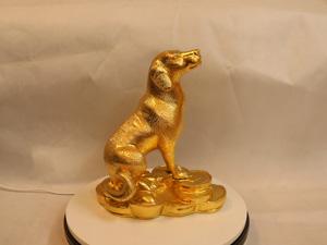 Tượng đồng con Chó dát vàng cao 28cm - Q0211