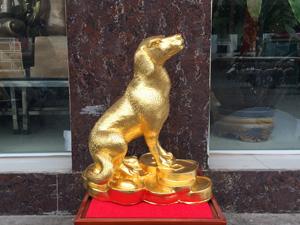 Tượng Chó bằng đồng đúc thủ công dát vàng cao 40cm - Q0668