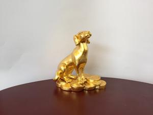 Tượng đồng con Chó dát vàng cỡ 10cm- Q0575