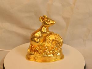Tượng đồng con Chuột dát vàng cao 18cm - Q0195