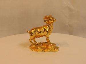 Tượng đồng con Dê dát vàng cao 8cm - Q0105