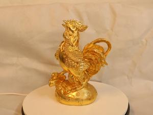 Tượng đồng con Gà Trống dát vàng cao 26cm - Q0197