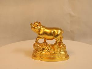 Tượng đồng con Lợn dát vàng 10cm - Q0106