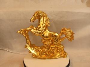 Tượng đồng con Ngựa dát vàng dài 40cm - Q0220